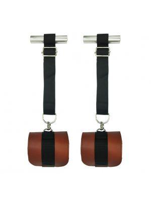 Fanny Bomb: Door Jam - Erotic Experiments - Pure Leather Handcuffs