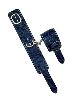 Fanny Bomb: Sensual Surrender Ankle Cuff - Lizard Print Pure Leather Blue