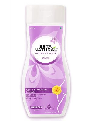 Beta Natural Intimate Wash (Gentle Protection - Immortelle) For Hygiene & Protection | Hypoallergenic | Gynaecologically Tested | Soap/Paraben Free - 20 ml