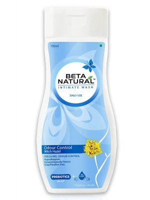 Beta Natural Intimate Wash (Odour Control - Witch Hazel) |For Hygeine & Protection | Hypoallergenic | Gynaecologically Tested | Soap & Paraben Free - 100 ml