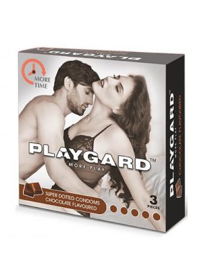 Playgard Chocolate Flavoured - SUPER DOTTED - Climax Delay Condoms - 3's Pack