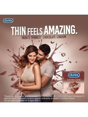 Durex Extra Thin Intense Chocolate Flavoured Condoms For Men - 3s