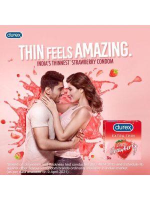 Durex Extra Thin Wild Strawberry Flavoured Condoms For Men - 3s