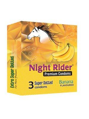 Night Rider Premium Extra Super Dotted Banana Flavored Condoms - 3's Pack