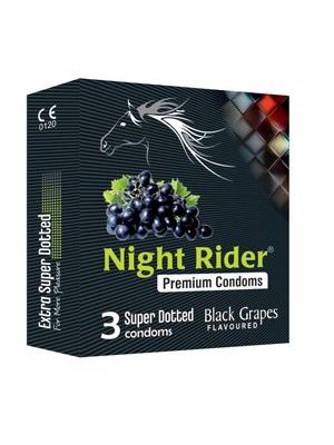 Night Rider Premium Extra Super Dotted Black Grapes Flavored Condoms - 3's Pack