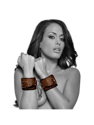 Fanny Bomb: Surrender Hand Cuff - High Gloss Patent  Leather Brown