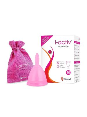 i-activ Menstrual Cup with Jute Bag, Reusable, Ultra Soft & flexible period cup made with 100% Medical Grade Liquid Silicone, Protection For 8-10 Hours, Rash-free, Leak-free and Odourless, Medium, Pack of 1