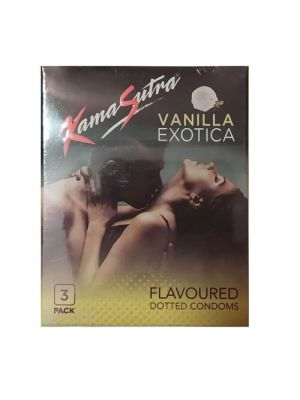 KamaSutra Exotica Vanilla Flavoured and Power Dotted Condoms - 3's Pack