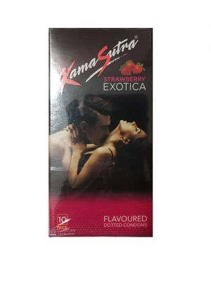 KamaSutra Exotica Strawberry Flavoured and Power Dotted Condoms - 10's Pack