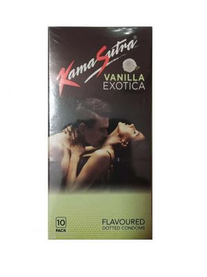 KamaSutra Exotica Vanilla Flavoured and Power Dotted Condoms - 10's Pack