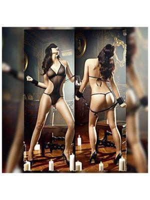 Rene Rofe -Love Slave Sensuous Teddy -black-FREE SIZE
