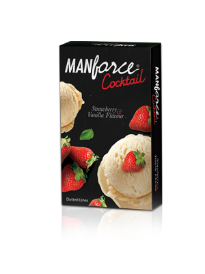 Manforce Cocktail Strawberry-Vanilla Flavored and Dotted Condoms 10's Pack