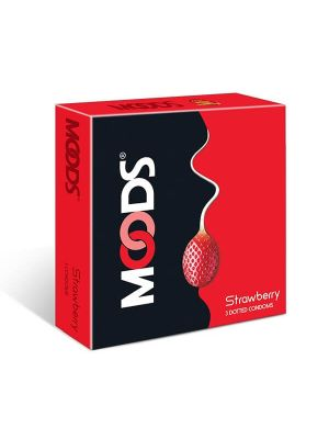 Moods Strawberry Flavored Condom - 3's Pack