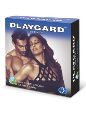Playgard Ice Mint Flavoured Multi Textured Condoms - 3's Pack