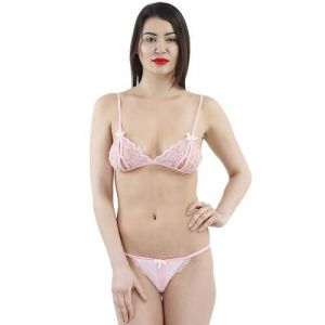 Eat Me with your Eyes - Glamour Puss - Erotic Lingerie Set - Pink - Free Size
