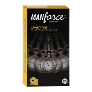 Manforce Overtime Pineapple 3in1 (Ribbed, Contour, Dotted) Condoms - 10 Pieces