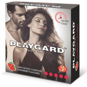 Playgard Strawberry Flavoured - SUPER DOTTED - Climax Delay Condoms -3's Pack