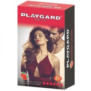 Playgard Strawberry Flavoured and Dotted Condom - 10's Pack