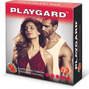 Playgard Strawberry Flavoured Dotted Condoms - 3's Pack
