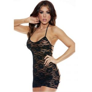 Eat-Me with Your-Eyes Strappy Chemise - Black - Free Size