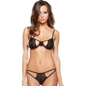 Eat Me with your Eyes: Steamy Bra and Panty - Black - Free Size