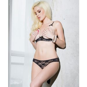Eat Me with your Eyes - Foxy Lady Erotic Lingerie Set - Black - Free Size
